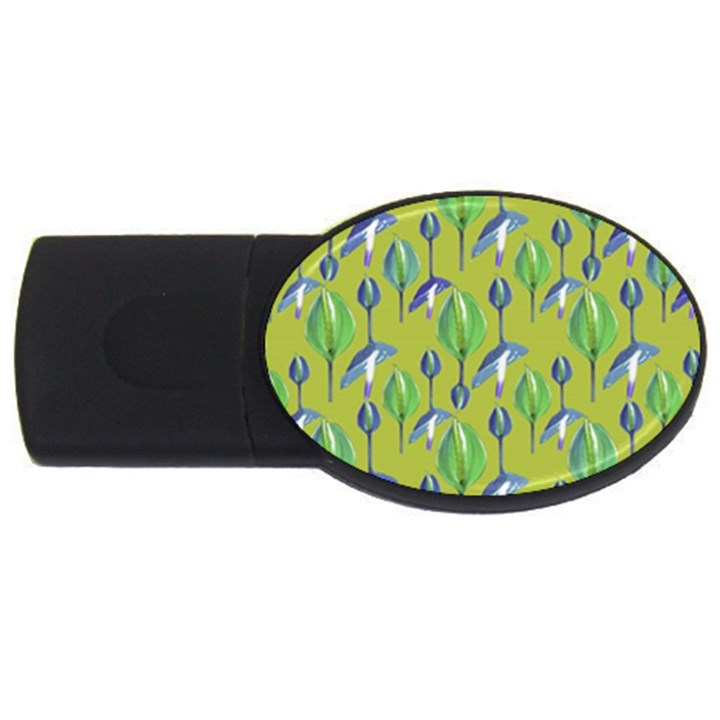 Tropical Floral Pattern USB Flash Drive Oval (1 GB)