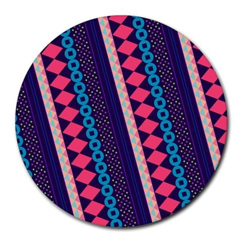 Purple And Pink Retro Geometric Pattern Round Mousepads