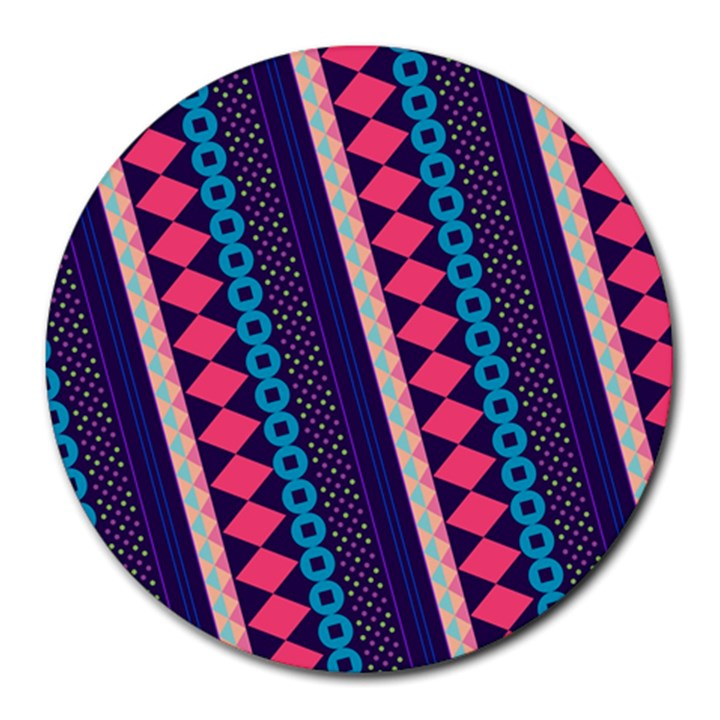 Purple And Pink Retro Geometric Pattern Round Mousepads