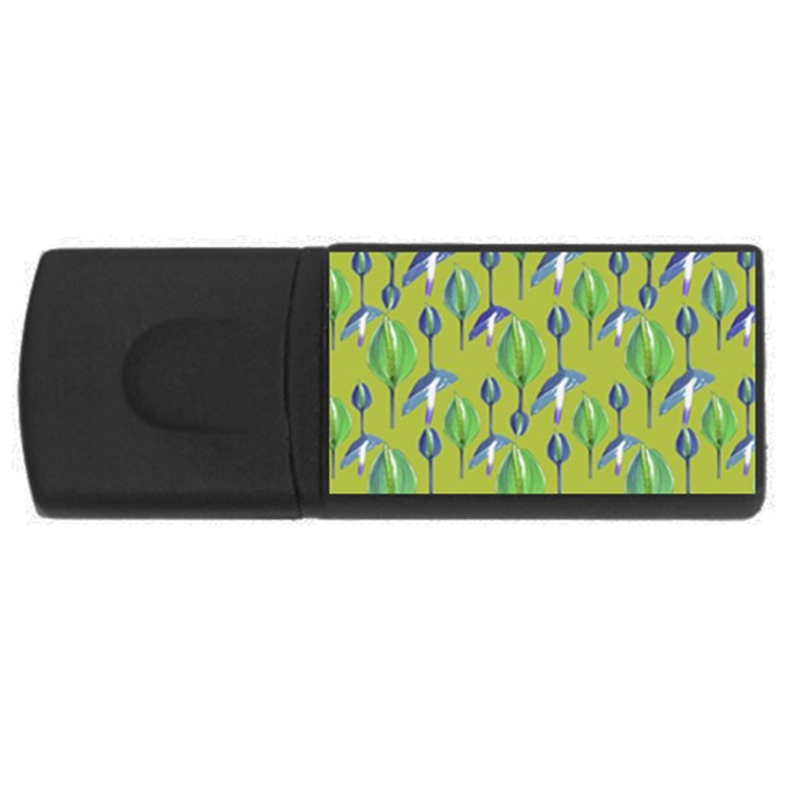 Tropical Floral Pattern USB Flash Drive Rectangular (2 GB)