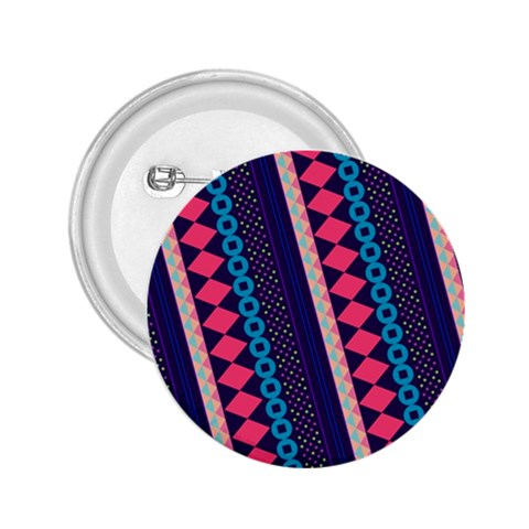 Purple And Pink Retro Geometric Pattern 2.25  Buttons
