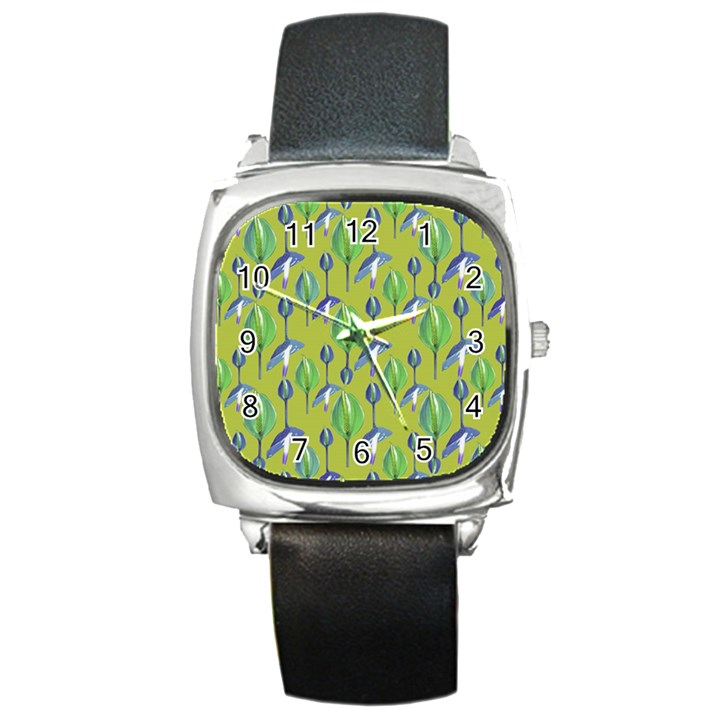 Tropical Floral Pattern Square Metal Watch