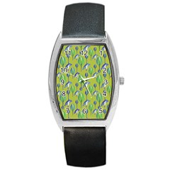 Tropical Floral Pattern Barrel Style Metal Watch