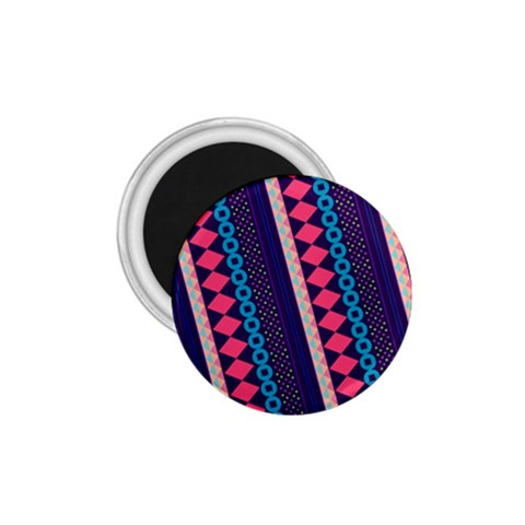 Purple And Pink Retro Geometric Pattern 1.75  Magnets