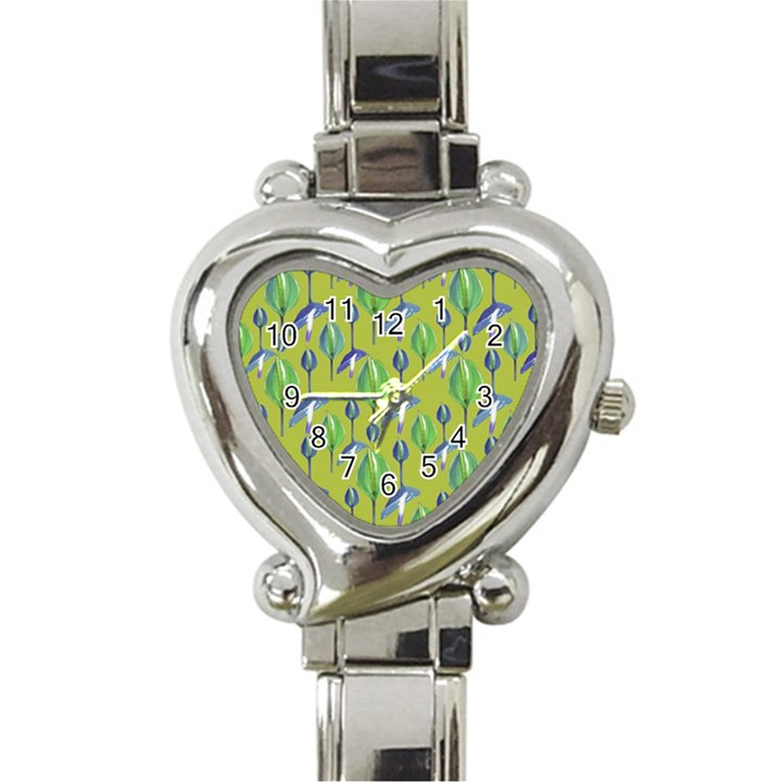 Tropical Floral Pattern Heart Italian Charm Watch