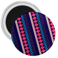 Purple And Pink Retro Geometric Pattern 3  Magnets
