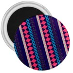 Purple And Pink Retro Geometric Pattern 3  Magnets Front