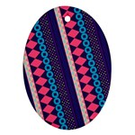 Purple And Pink Retro Geometric Pattern Ornament (Oval)  Front
