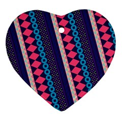 Purple And Pink Retro Geometric Pattern Ornament (heart)