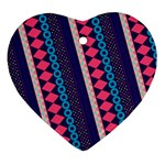 Purple And Pink Retro Geometric Pattern Ornament (Heart)  Front