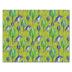 Tropical Floral Pattern Rectangular Jigsaw Puzzl