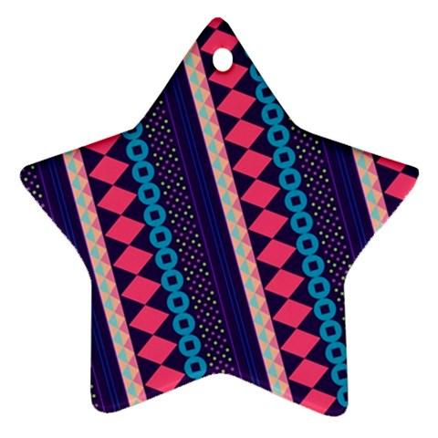 Purple And Pink Retro Geometric Pattern Ornament (Star)