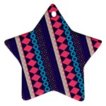 Purple And Pink Retro Geometric Pattern Ornament (Star)  Front