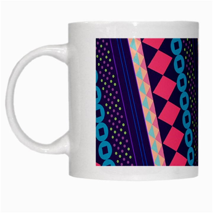 Purple And Pink Retro Geometric Pattern White Mugs