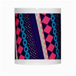 Purple And Pink Retro Geometric Pattern White Mugs Center