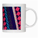 Purple And Pink Retro Geometric Pattern White Mugs Right