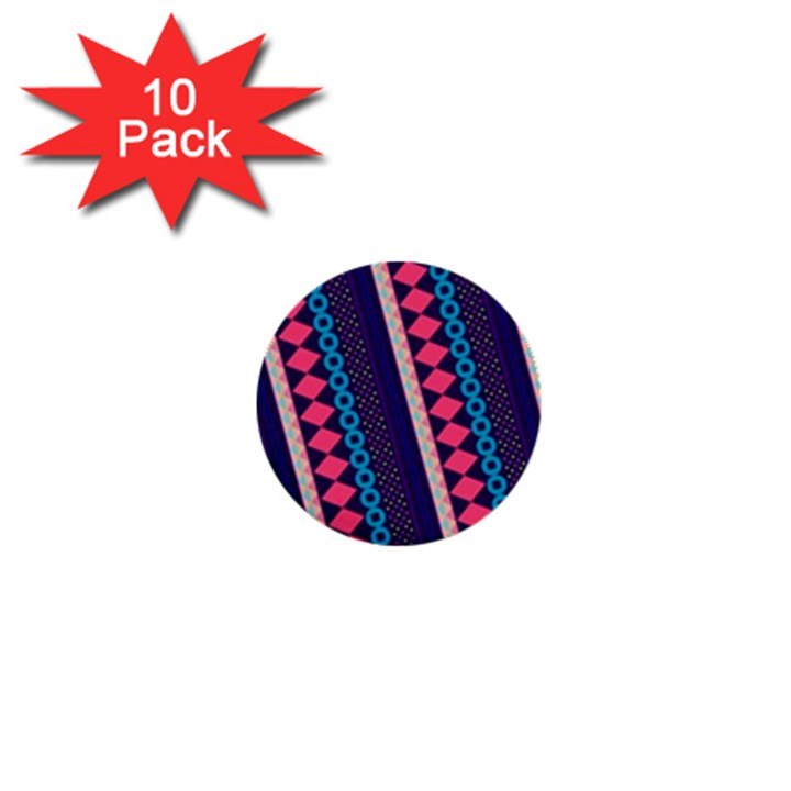 Purple And Pink Retro Geometric Pattern 1  Mini Buttons (10 pack)