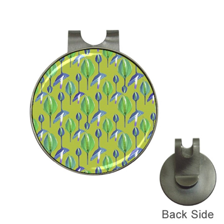 Tropical Floral Pattern Hat Clips with Golf Markers
