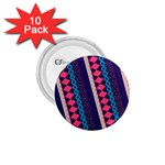 Purple And Pink Retro Geometric Pattern 1.75  Buttons (10 pack) Front