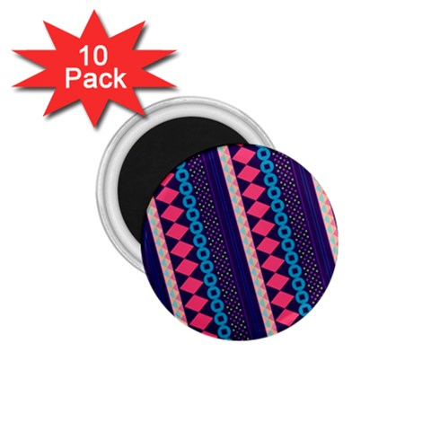 Purple And Pink Retro Geometric Pattern 1.75  Magnets (10 pack)
