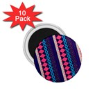 Purple And Pink Retro Geometric Pattern 1.75  Magnets (10 pack)  Front