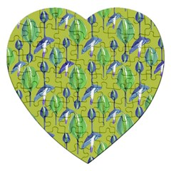 Tropical Floral Pattern Jigsaw Puzzle (Heart)