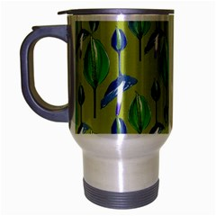 Tropical Floral Pattern Travel Mug (Silver Gray)