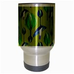 Tropical Floral Pattern Travel Mug (Silver Gray) Center
