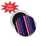 Purple And Pink Retro Geometric Pattern 1.75  Magnets (100 pack)  Front