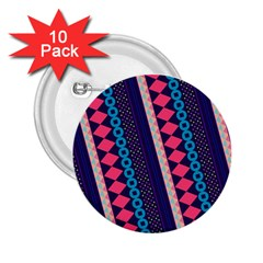 Purple And Pink Retro Geometric Pattern 2.25  Buttons (10 pack)