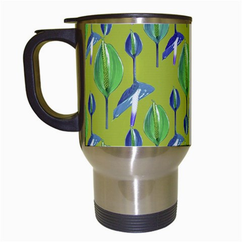 Tropical Floral Pattern Travel Mugs (White)