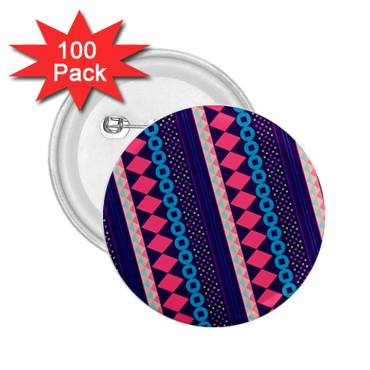 Purple And Pink Retro Geometric Pattern 2.25  Buttons (100 pack)
