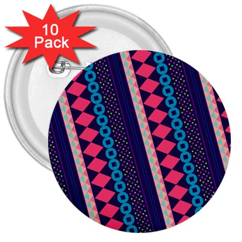 Purple And Pink Retro Geometric Pattern 3  Buttons (10 pack)