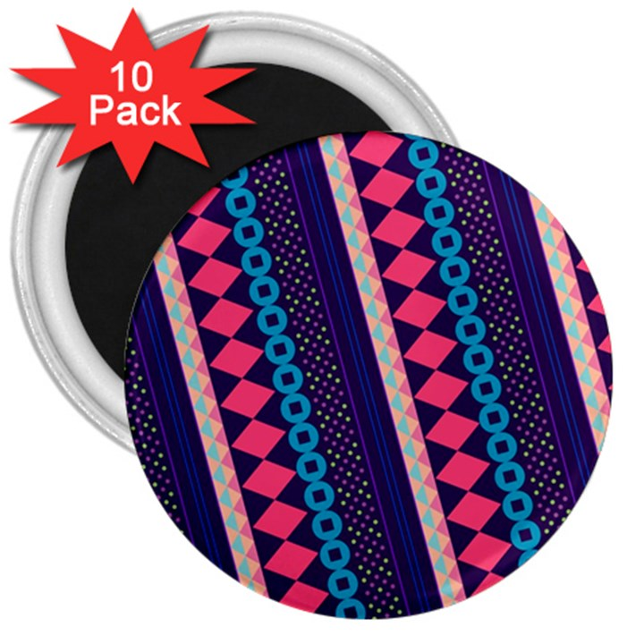 Purple And Pink Retro Geometric Pattern 3  Magnets (10 pack)