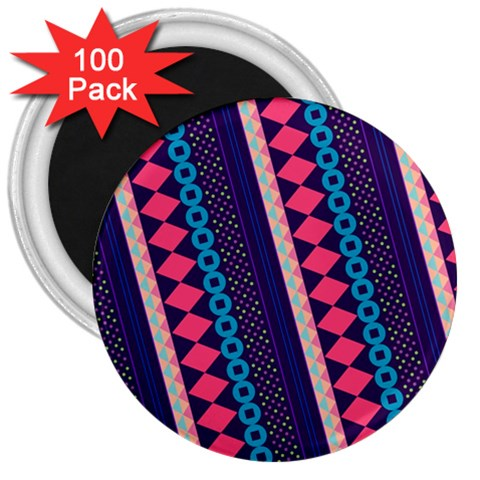 Purple And Pink Retro Geometric Pattern 3  Magnets (100 pack)