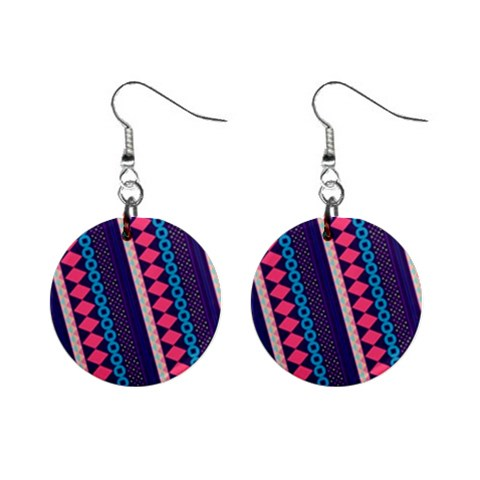 Purple And Pink Retro Geometric Pattern Mini Button Earrings