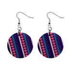 Purple And Pink Retro Geometric Pattern Mini Button Earrings Front