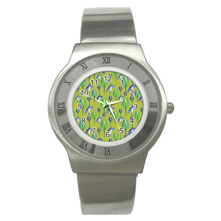 Tropical Floral Pattern Stainless Steel Watch