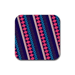 Purple And Pink Retro Geometric Pattern Rubber Square Coaster (4 Pack)
