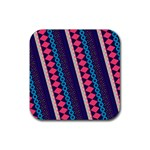 Purple And Pink Retro Geometric Pattern Rubber Square Coaster (4 pack)  Front
