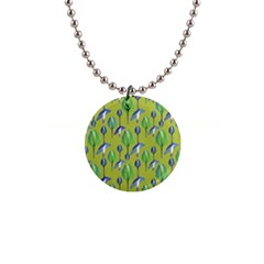 Tropical Floral Pattern Button Necklaces