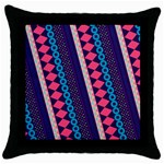 Purple And Pink Retro Geometric Pattern Throw Pillow Case (Black) Front