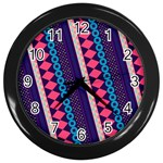 Purple And Pink Retro Geometric Pattern Wall Clocks (Black) Front
