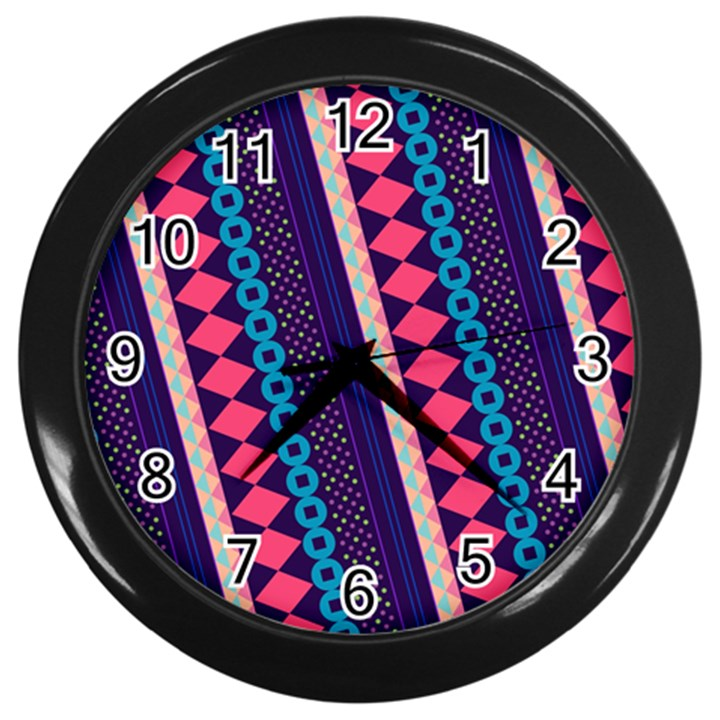 Purple And Pink Retro Geometric Pattern Wall Clocks (Black)