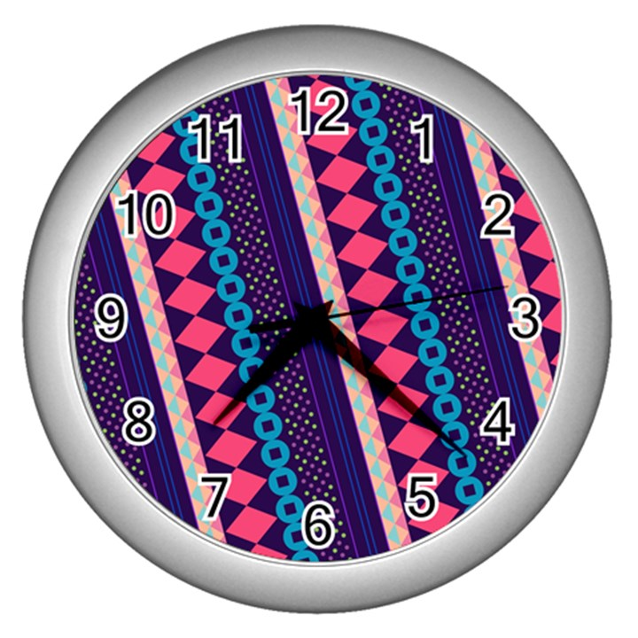 Purple And Pink Retro Geometric Pattern Wall Clocks (Silver)