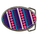 Purple And Pink Retro Geometric Pattern Belt Buckles Front