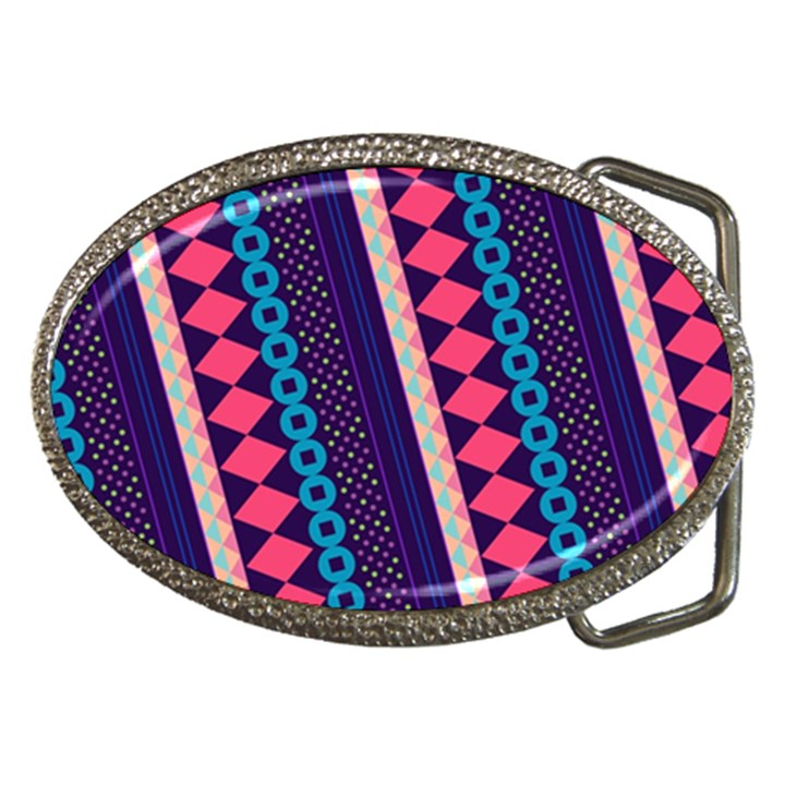 Purple And Pink Retro Geometric Pattern Belt Buckles