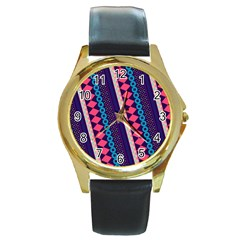 Purple And Pink Retro Geometric Pattern Round Gold Metal Watch