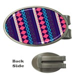 Purple And Pink Retro Geometric Pattern Money Clips (Oval)  Front