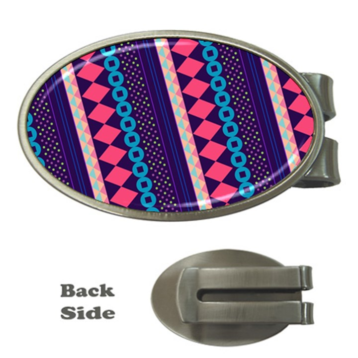 Purple And Pink Retro Geometric Pattern Money Clips (Oval)
